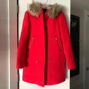 JCrew Chateau Parka Bright Red - Sz 0 Worn Once!